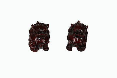 Chinese Guardian Lion Statue Figurine Pair Fu Foo Dog Red Resin Small