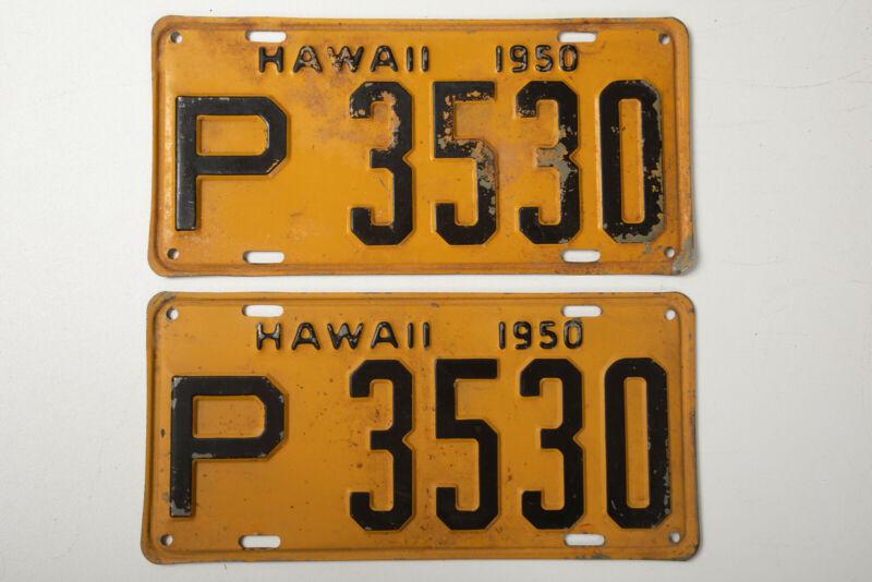 Yellow Black Hawaii License Truck Plates Pair (P4L) P 3530 Aloha Vintage 1950