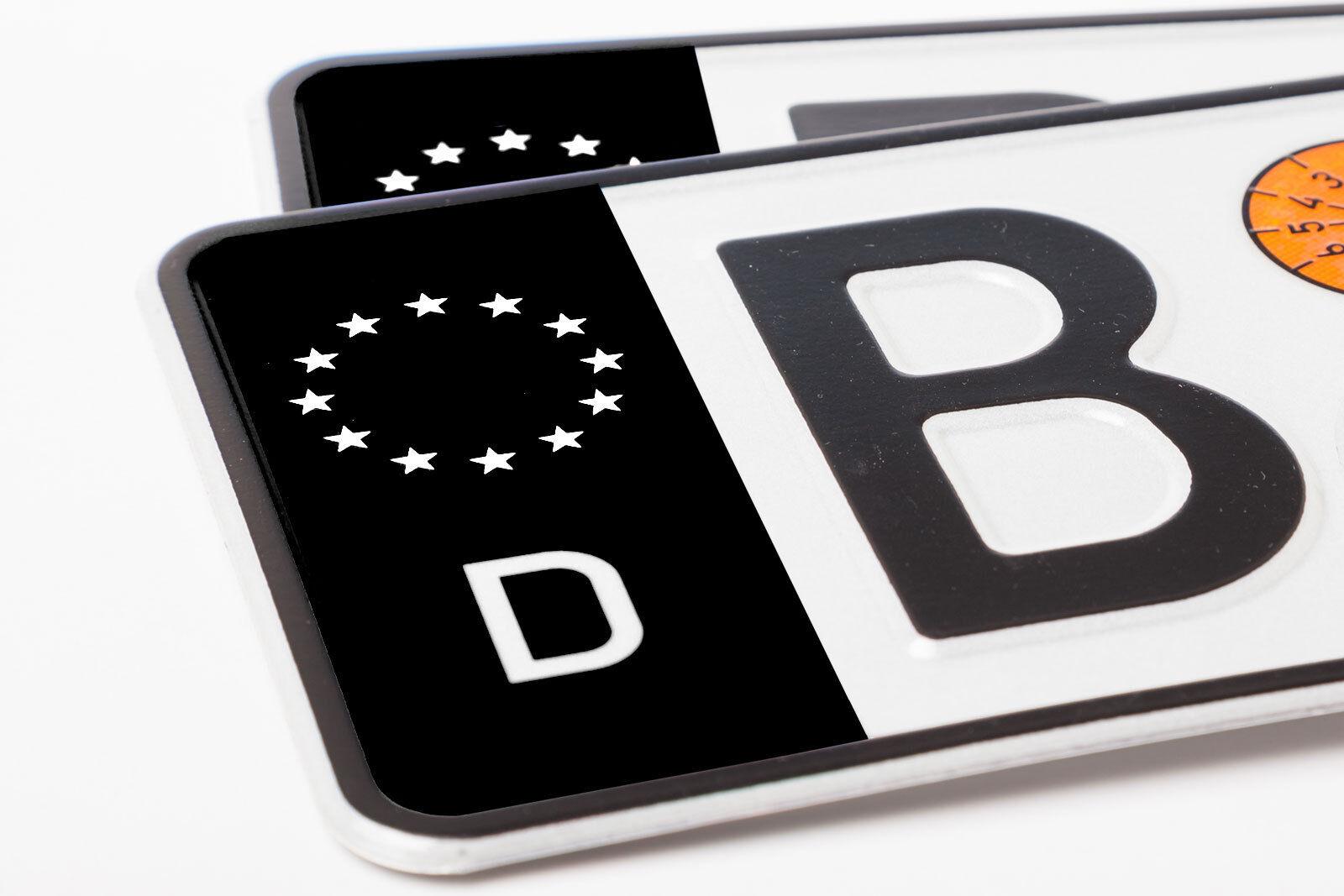 2x Nummernschild Kennzeichen Aufkleber Eu Feld In Schwarz Waschstrassenfest Auto Tuning Styling