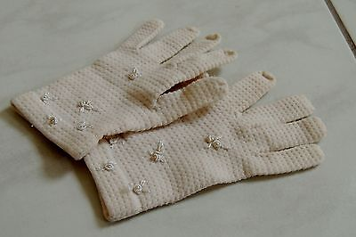 vintage CHILDREN'S GLOVES Knit with pearl & embroidered accents