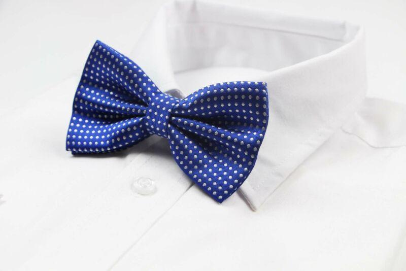 Mens Dark Blue Plain Coloured Bow Tie With White Polka Dots