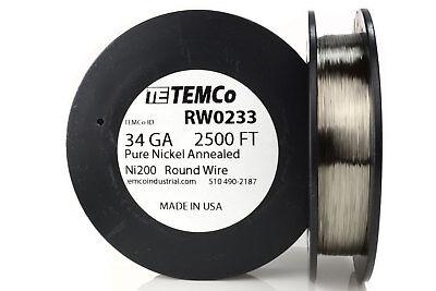 Temco Pure Nickel Wire 34 Gauge 2500 Ft Non Resistance Awg Ni200 Nickel 200ga