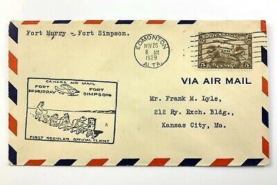 1929 Canadian First Flight Commemorative Covers Ft McMurray-Ft Simpson Env 971B