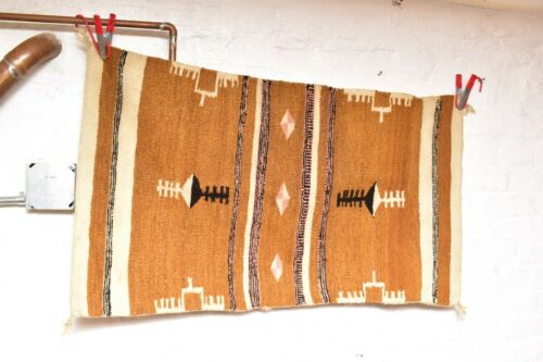 ANTIQUE Navajo Rug native american indian weaving VINTAGE 39x22 TEXTILE