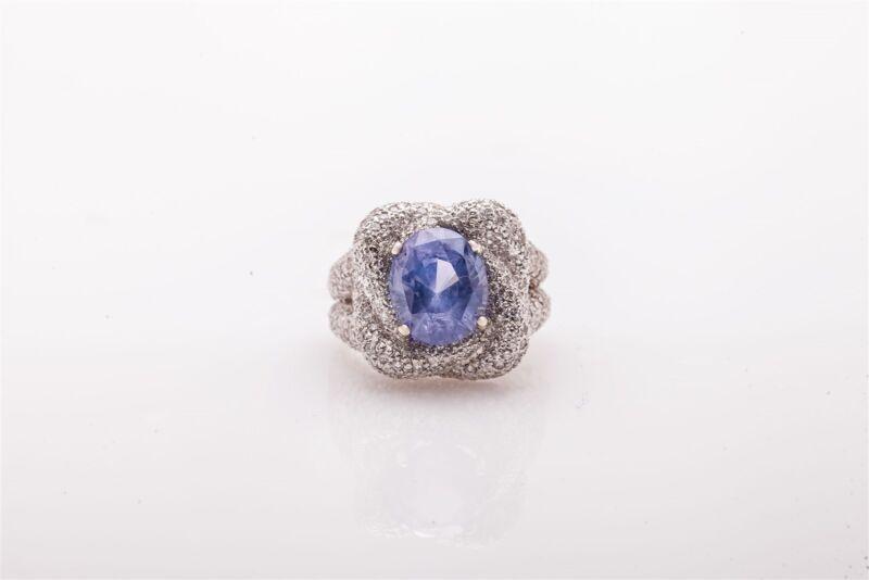 Designer $20,000 8ct Burma No Heat Blue Sapphire Diamond Platinum Knot Ring 16g
