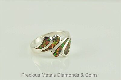 Colorful Sterling Silver Swirl Fire Opal Bypass Ring 925 Sz: 8.5