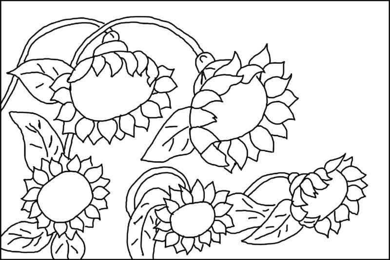 """Rug Hooking Pattern """" SUNFLOWER GARDEN """" on natural linen"""