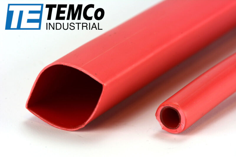 "TEMCo 3/4"" Marine Heat Shrink Tube 3:1 Adhesive Glue Lined 4 ft RED"