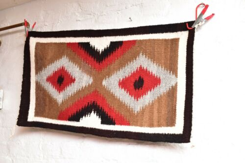 ANTIQUE Navajo Rug native american indian weaving VTG 32x18 Eye Dazzler Textile