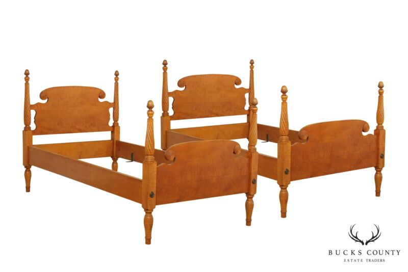 Tiger Maple Custom Quality Pair Twin Poster Beds