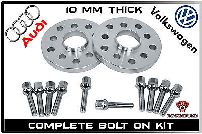 2 Pc Audi Volkswagen 10mm Hub Centric Wheel Spacers 5x100 5x112 W/ 10 Ball Bolts
