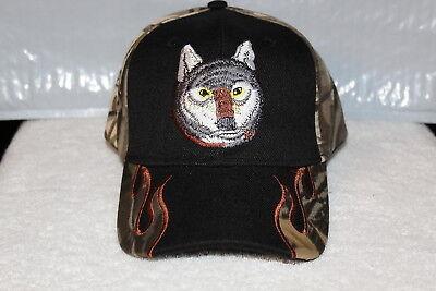 WOLF HEAD OUTDOOR BASEBALL CAP HAT ( CAMOUFLAGE & BLACK ) (Wolf Head Hat)
