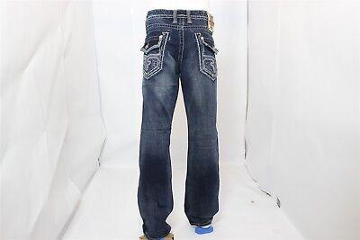 "BRAND NEW ROCK REVIVAL Men's Denim Jeans ""Matty"" Straight Leg - Men's Size 34"