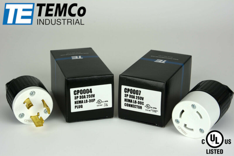 TEMCO NEMA L6-30P Pair Plug 30A 250V Locking UL Listed for Generator RV Camper