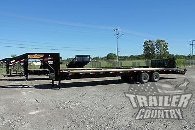 New 2021 8 X 35 305 Dual Tandem 10 Ton Deck Over Equipment Gooseneck Trailer