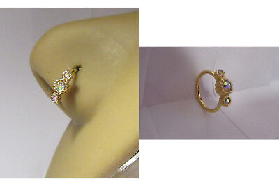 18k Gold Plated 3 Iridescent Cup Setting Nose Nostril Hoop Ring 20 gauge 20g ()