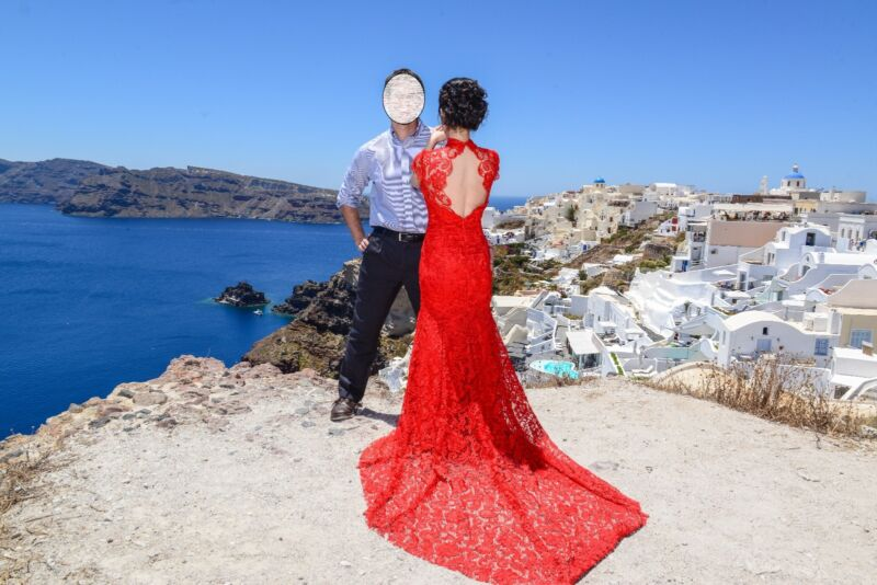 Custom Made Chinese Red Lace Dress