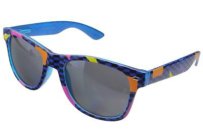 Totally 80's Retro Rad Horn Rim Sunglasses Party Novelty Vice Theme Blue Gray (80s Party Themes)