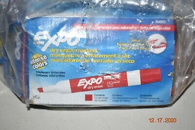 New Lot 24 Expo Dry Erase Markers Low Odor Red