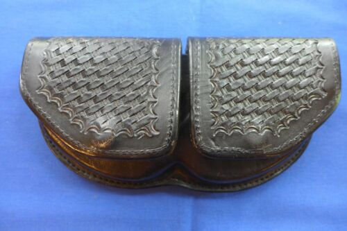 Black Leather Basketweave Handcuff Pouch Case Double by Wally Miller USA
