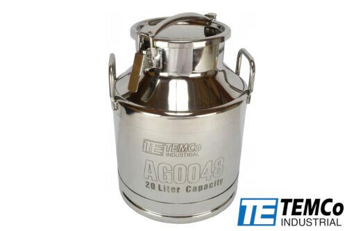 TEMCo 20 Liter 5.25 Gallon Stainless Steel Milk Can Wine Pail Bucket Tote Jug