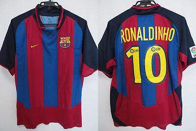 64500c3f1ef 2003-2004 FC Barcelona Barca FCB Jersey Shirt Camiseta Home Nike Ronaldinho 10  L