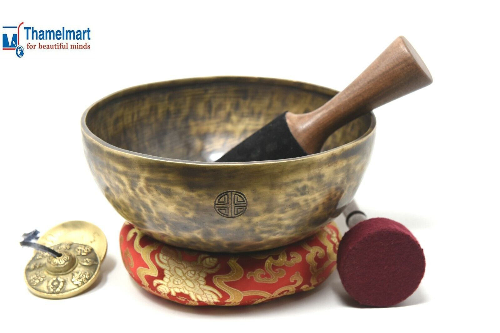 Rare Superb Tibetan OM Ring Gong YOGA Singing Bowl