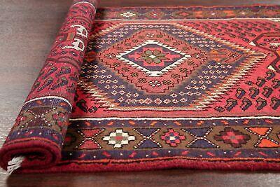 Brick Red Oriental Rug - Geometric Hamedan Persian Tribal Area Rug BRICK RED Oriental Hand-Knotted 3x5