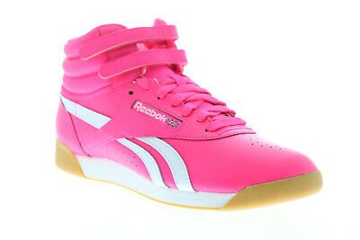 Reebok Freestyle HI SU CN7150 Womens Pink Leather High Top Sneakers Shoes