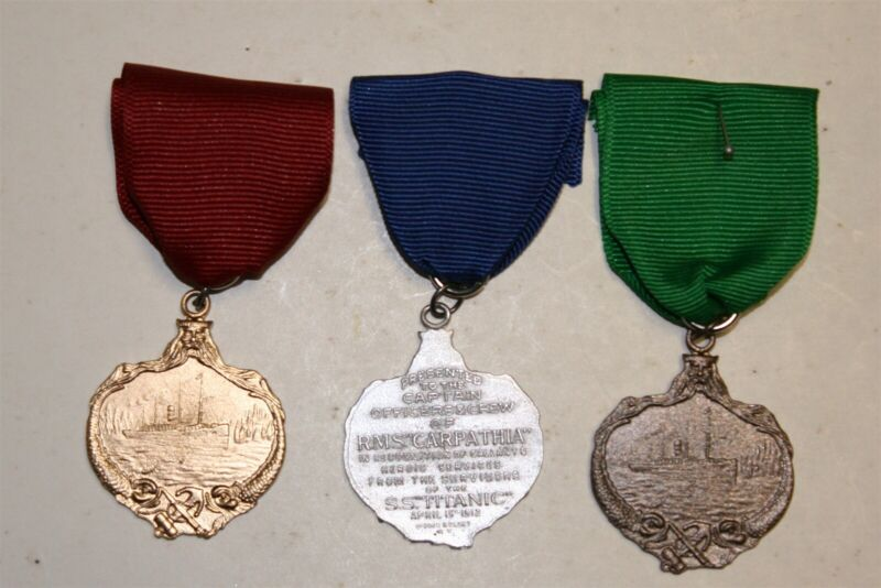 3 CARPATHIA MEDALS TITANIC WHITE STAR LINE ICEBERG UNSINKABLE MOLLY BROWN  N/R
