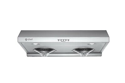 Chef C100 30-inch Under Cabinet Range Hood w 700 CFM, 3 Speed, Bright LED Lamps