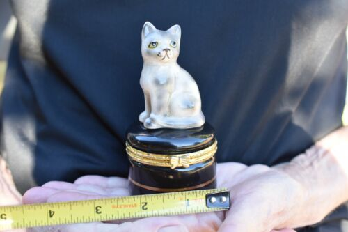Hinged Lid Trinket/Pill Box Gray Striped Tabby Cat TopperLimoges Style