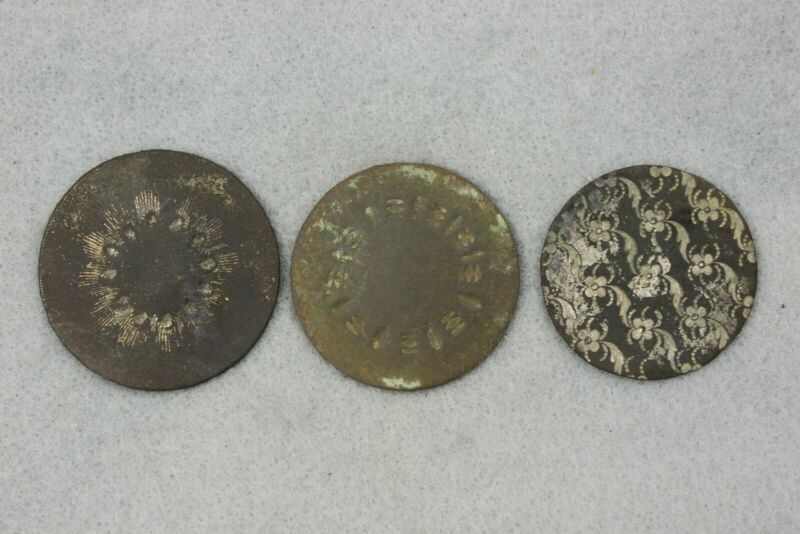 Three One Piece Ornate Colonial Buttons Dug Hanover Co. VA