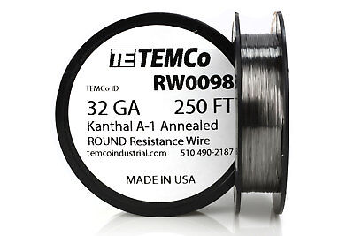 Temco Kanthal A1 Wire 32 Gauge 250 Ft Resistance Awg A-1 Ga