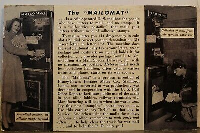 Ad Pitney Bowes Postage Meter Co Mail Mailomat Postcard Old Vintage Card View PC