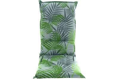 Auflage BORKUM grau grün Palmenmuster für Hochlehner 117 cm Garten Stuhl Sessel