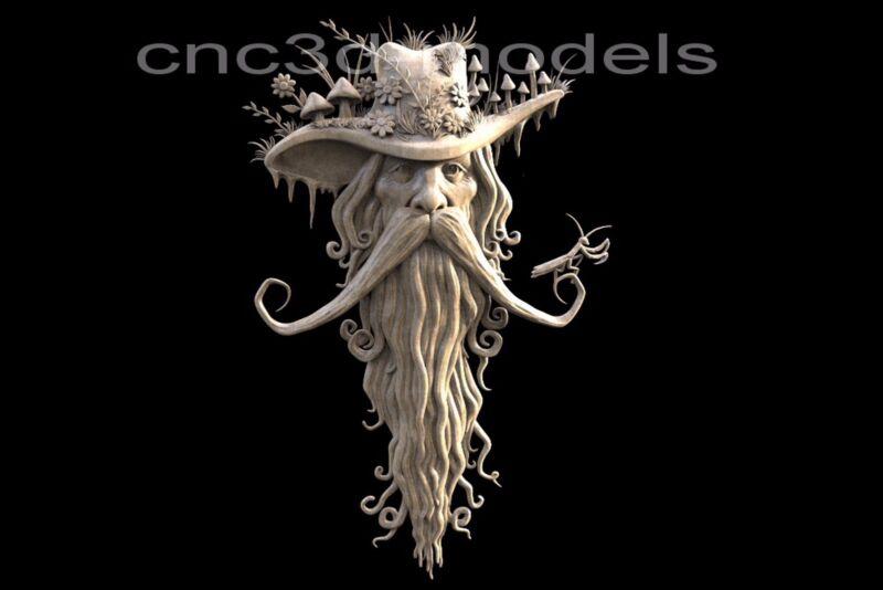 3D Model STL for CNC Router Carving Artcam Aspire Forest Old Man Gandalf 167
