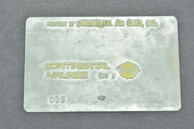 Continental Airlines Validation Plate