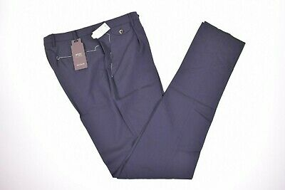 PT01 NWT Wool Blend Flat Front Casual Pants Size 32 in Navy $400 Business