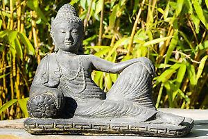 Buddha liegend  Indonesien Lavastein Skulptur Statue Feng Shui Garten Deko