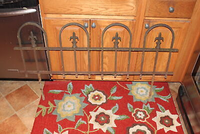 Antique Wrought Iron Metal Garden Cemetery Fence Fleur De Lis #2 Gothic Medieval Wrought Iron Garden Fencing