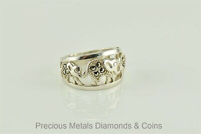 Tapered Sterling Silver Triple Elephant Marcasite Ring 925 Sz: 5 Elephant Tapered Ring