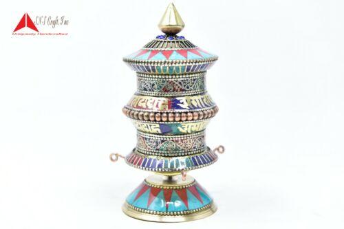 5.5 Inch Tall Turquoise Coral Tibetan Top Table Prayer Wheel, OM mane padme hum