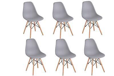 Pack 6 sillas de comedor Gris silla diseño nórdico retro estilo
