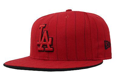 New Era Cap Pinstripe Cap (New Era 59Fifty Cap MLB Los Angeles Dodgers Mens Red Pinstripe Hat Size 7 3/4)