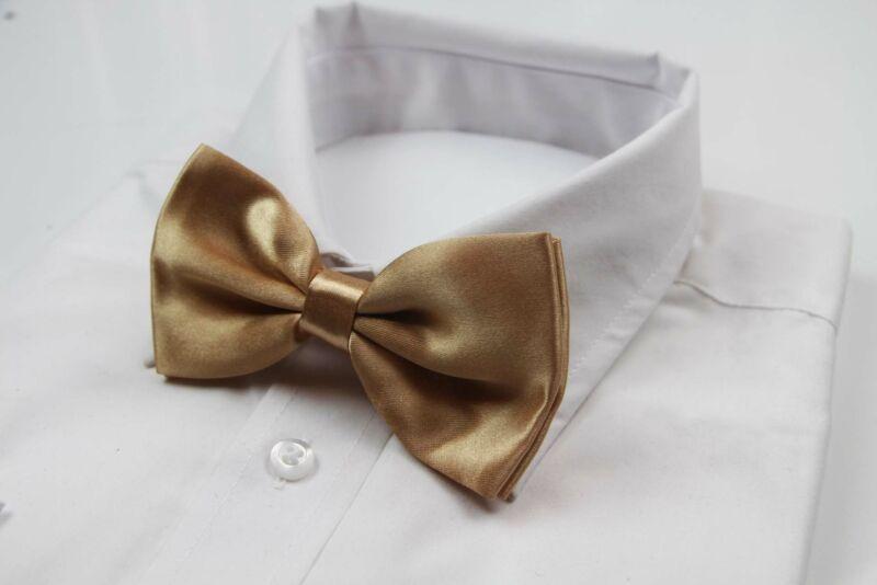 Mens Gold Solid Plain Colour Bow Tie