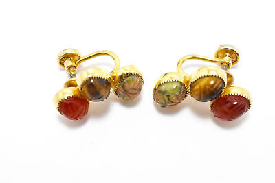 Vtg D'Or Egyptian Scarab 12K Gold Filled Earrings Carnelian Tigers Eye Jasper Carnelian Tigers Eye Earrings
