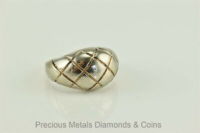 Sterling Silver Polished Dome Ring w/ Checker Board Design 925 Sz: 6.5a