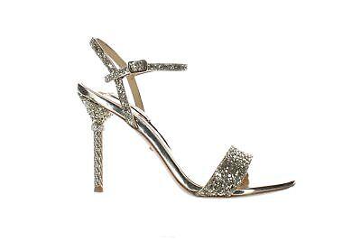 Badgley Mischka Womens Olympia Platino Glitter Ankle Strap Heels Size 6.5