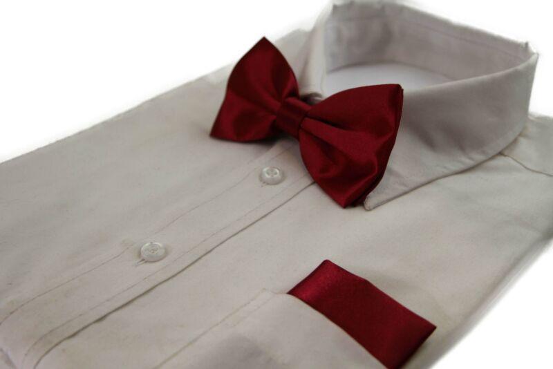 Mens Maroon Plain Bow Tie & Matching Pocket Square Set